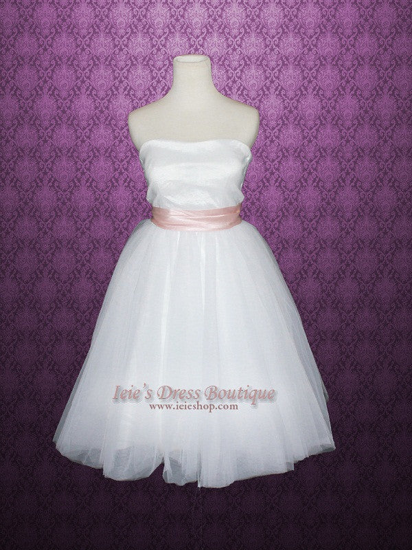 Ballerina Tutu Tea Length Tulle Wedding Dress Bridesmaid Dress