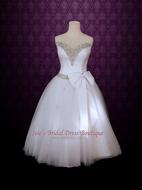 Tulle Tea Length Wedding Dress with sparkly neckline