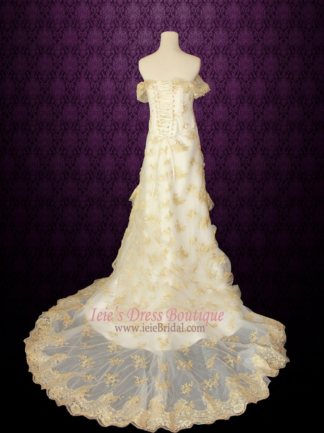 3 Piece Retro Fantasy Medieval Gold Lace Overlay Wedding Dress Fantasy Wedding Dress| Ayleth