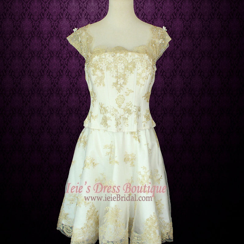 3 Piece Retro Fantasy Medieval Gold Lace Overlay Wedding Dress | Ayleth