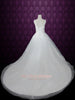Princess Ball Gown Tulle Wedding Dress with Floral Lace Applique and thin straps | Sandra