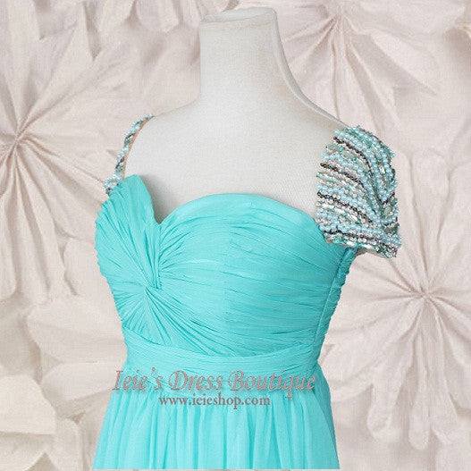 Cap Sleeves Chiffon Evening Gown with Pleated bodice