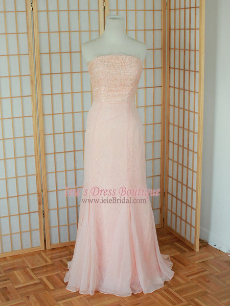 Blush Pink Strapless Formal Prom Evening Dress