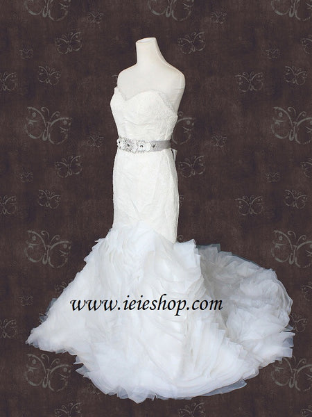 Strapless V Neck Organza Ruffle Strip Fit and Flare Wedding Dress
