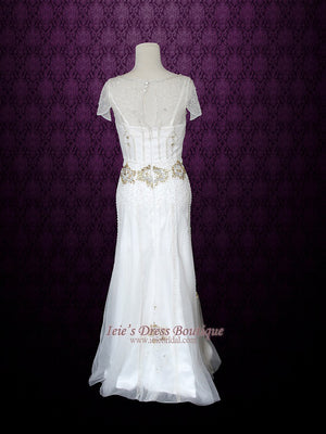 Glamorous Retro 1920's Style Wedding Dress with Sleeves | Anabel