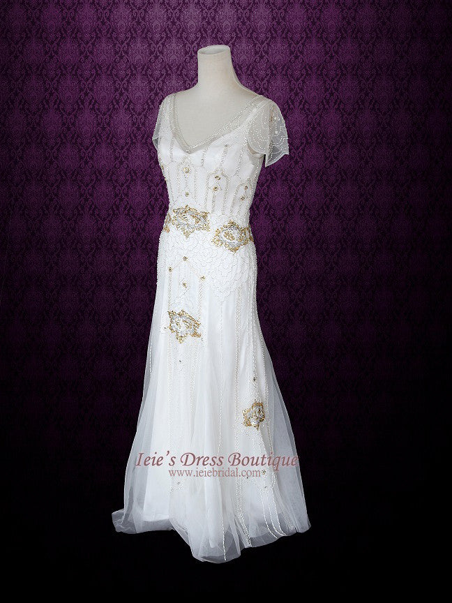 Ivory Bohemian Beach Wedding Dress With Silk Lining Cap