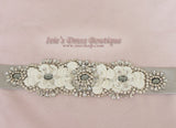Silver Floral Jeweled Crystal Bridal Sash