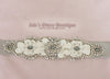 Silver Moire Jeweled Crystal Bridal Sash with Rhinestones