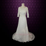 Size 4 Vintage Modest Lace Wedding Dress with Long Sleeves REBECCA