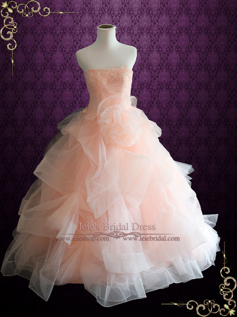 Strapless Peach Blush Colored Lace Ball Gown Wedding Dress