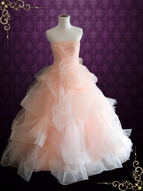 Strapless Peach Colored Lace Ball Gown Wedding Dress | Fae