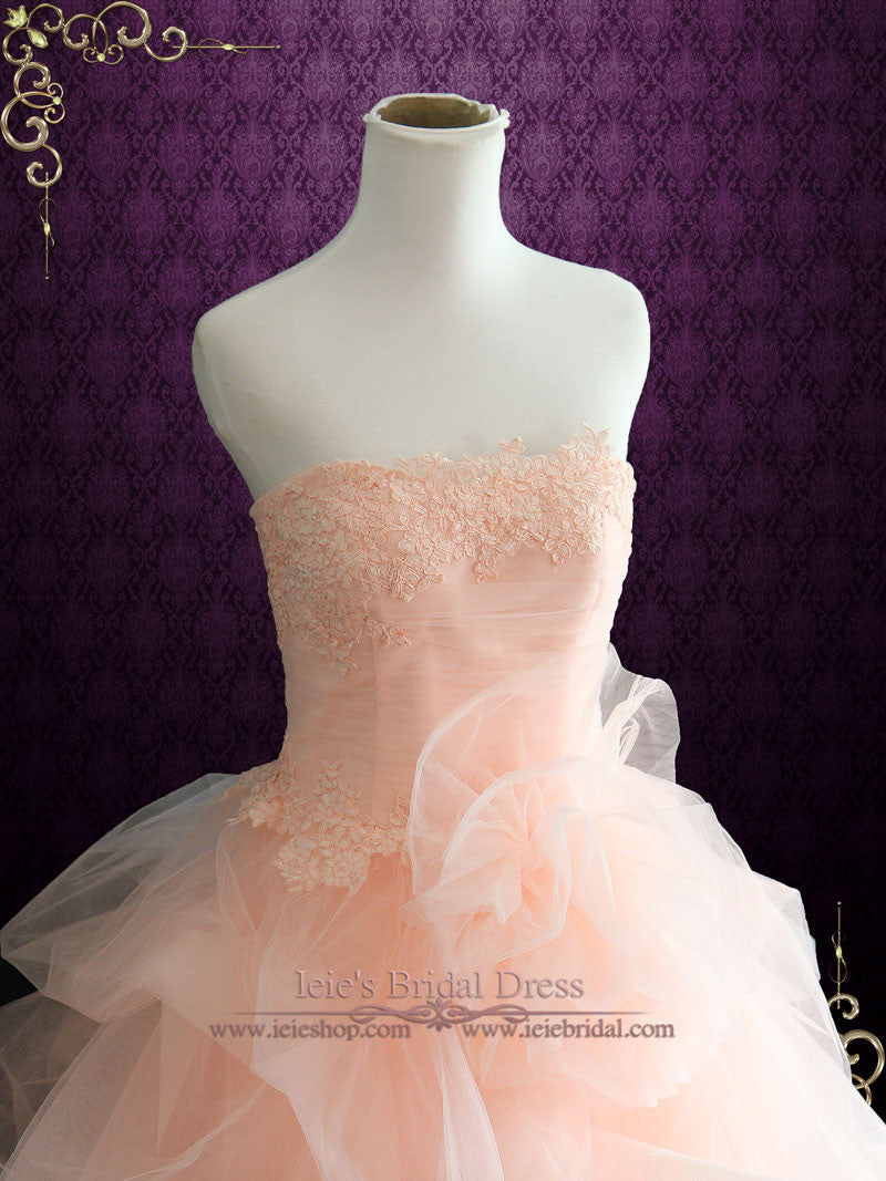 1836975817 Strapless Peach Blush Colored Lace Ball Gown Wedding Dress