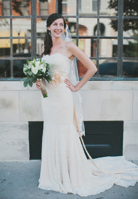 Vintage Inspired Strapless Cotton Lace Mermaid Wedding Dress ...