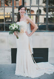 Ieie's Bride Vintage Style Strapless Sweetheart Cotton Lace Mermaid Wedding Dress