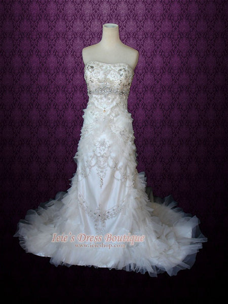 Strapless Embroidered Crystal Slim A-line Wedding Dress with Rufffles | Mezz