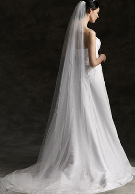 Plain Single Tier Chapel Length Tulle Veil With Raw Edge | VG1030