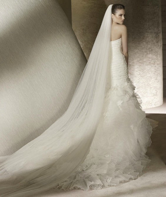 Plain Two-Tier Cathedral Length Tulle Veil With Raw Edge