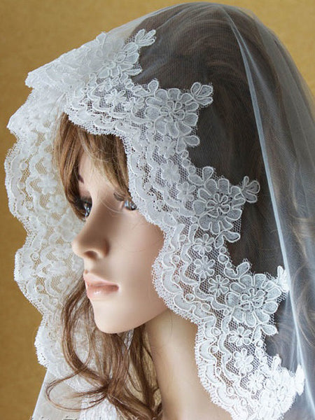 Cathedral Length Lace Mantilla Wedding Veil 118''
