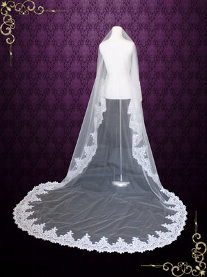 Off White Wide Lace Edge Mantilla Lace Wedding Veil | VG1003