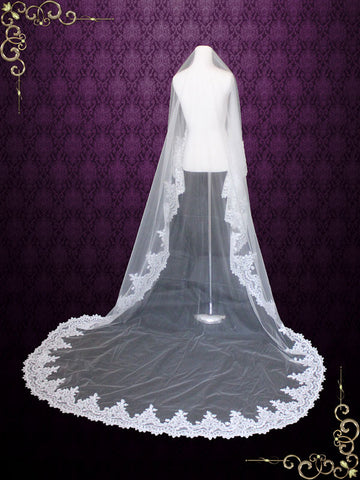 Off White Cathedral Wide Lace Edge Mantilla Lace Wedding Veil | VG1003