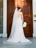 Cathedral Length Eyelash lace Mantilla Wedding Veil