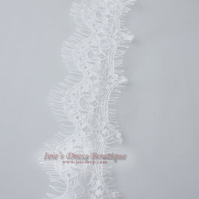Cathedral Length Wide Eyelash Lace Mantilla Bridal Veil