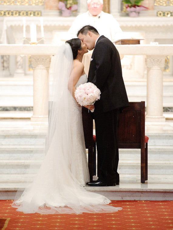 Plain 2 tier Cathedral Length Wedding Veil
