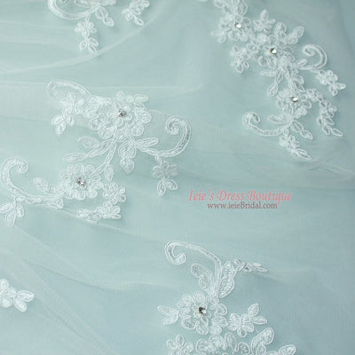 Two Tier Fingertip Lace Bridal Wedding Veil with Flower Applique 50 inches VG1017
