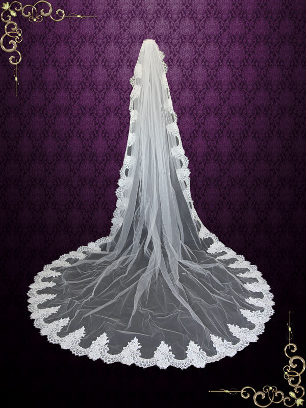 Cathedral Length French Alencon Lace Wedding Veil VG1018