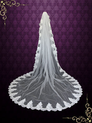 Cathedral Length French Alencon Lace Wedding Veil 118''