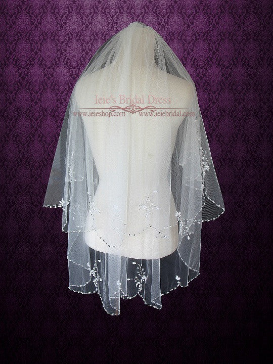Jeweled fingertip Short Wedding Veil
