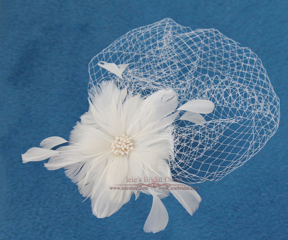 Vintage Birdcage Veil with Feather Flower