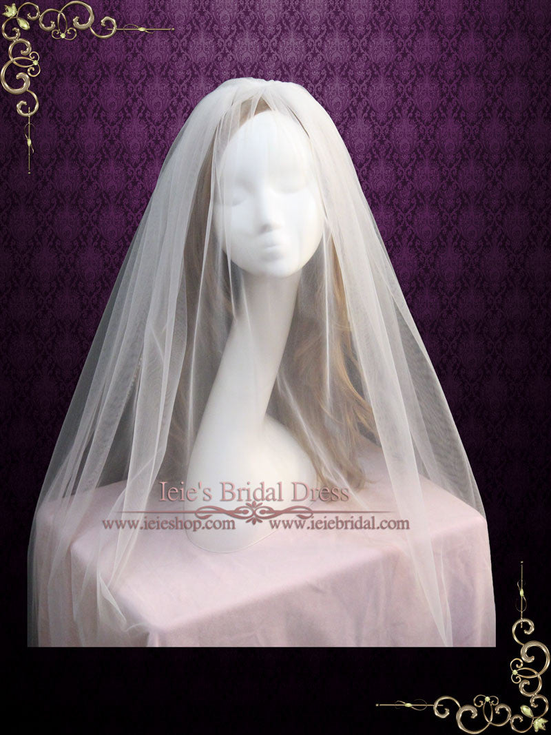 Two Tier Chapel Length Wedding Veil with Crystal Edge | VG1052