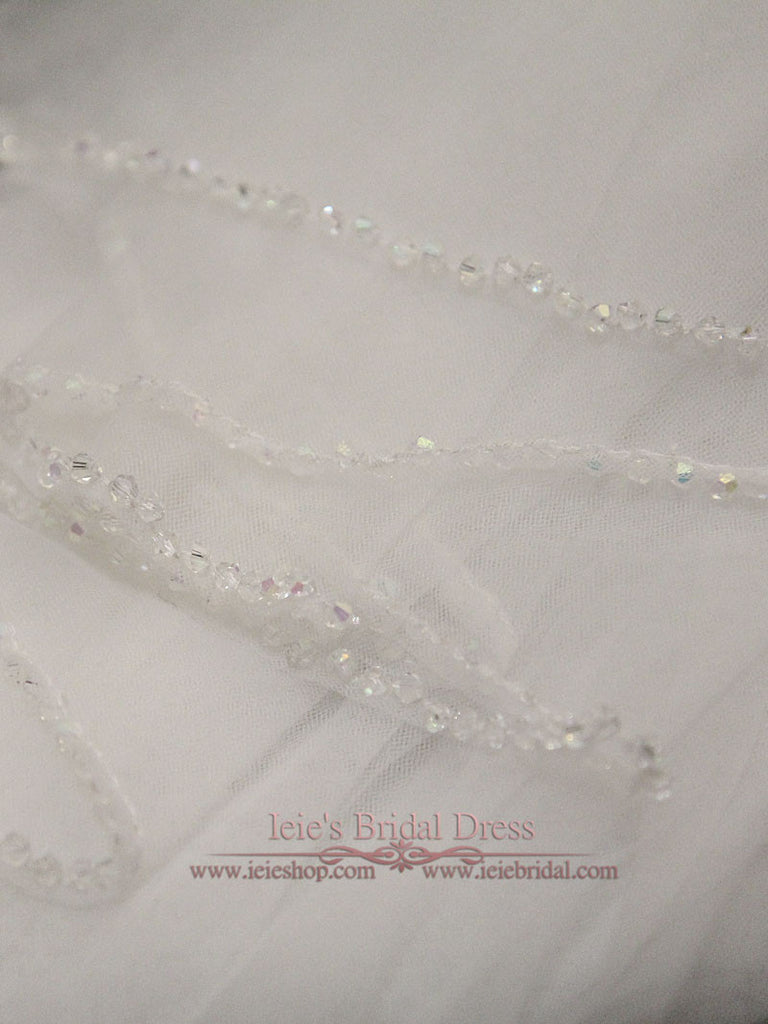 Two Tier Chapel Length Wedding Veil with Crystal Edge VG1052