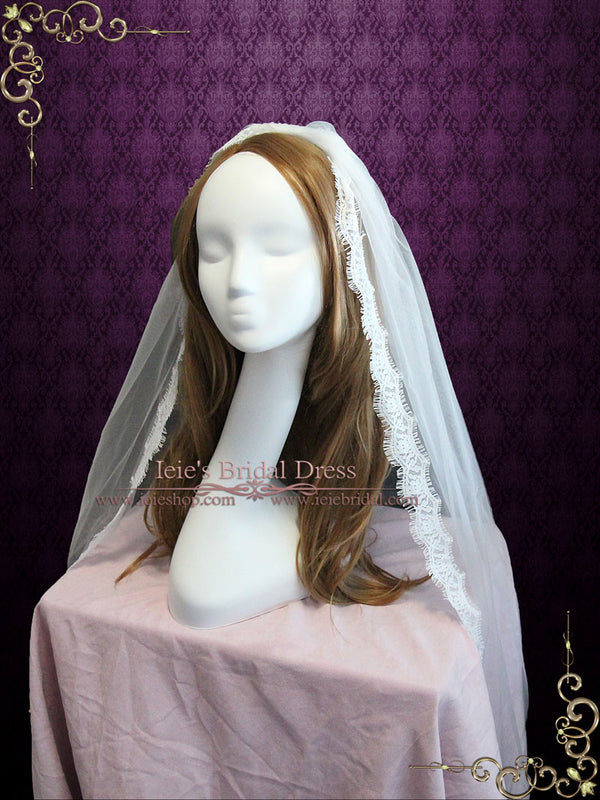 Fingertip Wedding Veil with Small Eyelash Lace Edge VG1055