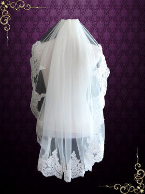Fingertip Wedding Veil with Alencon Lace VG1057