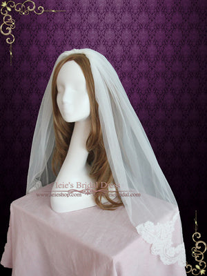 Fingertip Wedding Veil with French Alencon Lace at the End | VG1066