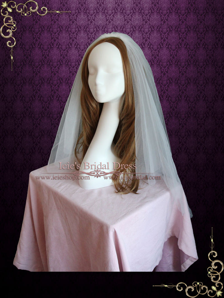 Plain Two Layers Fingertip Wedding Veil VG1068