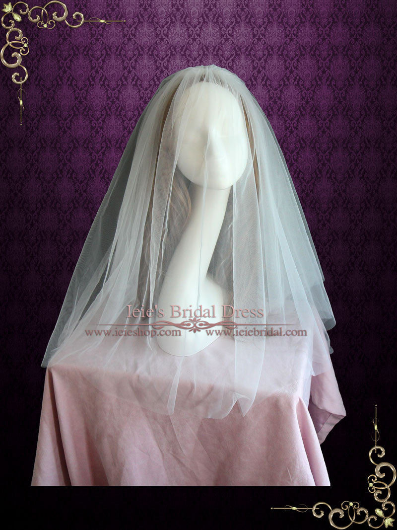 Plain Two Layers Fingertip Wedding Veil | VG1068