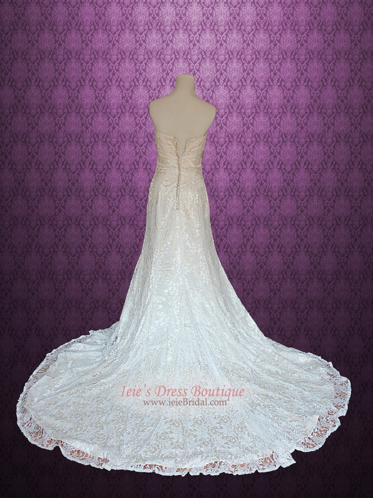Vintage Lace A-line Wedding Dress with Strapless Sweetheart | Joy