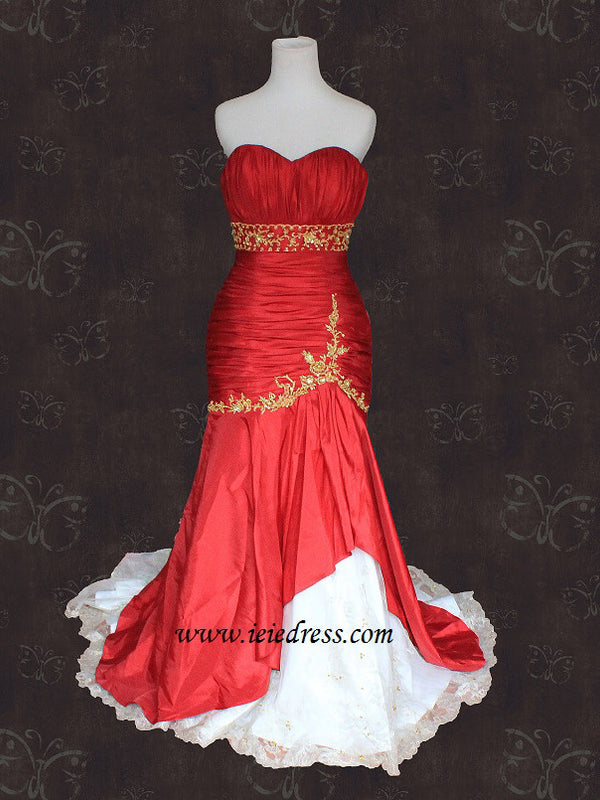 Red and Gold Mermaid Wedding Dress
