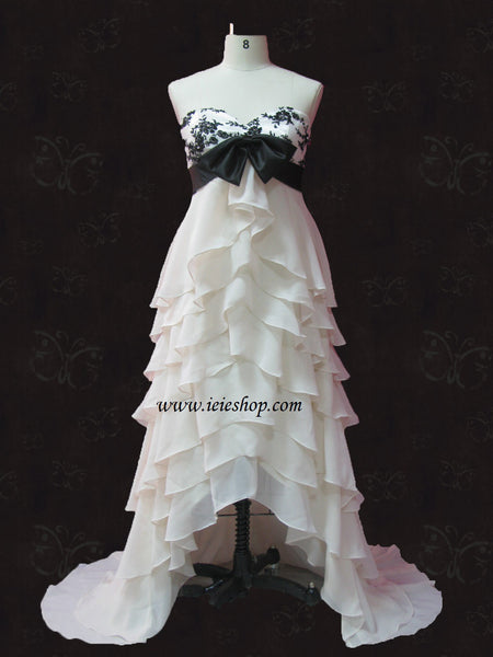 Strapless Tiered Chiffon Evening Gown With Sweet Heart Neckline And Bow