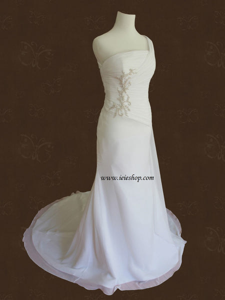 Grecian One Shoulder Chiffon Destination Wedding Dress