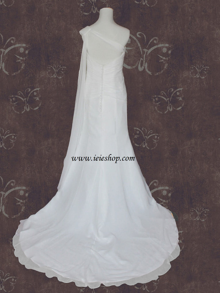 Grecian One Shoulder Destination Vacation Wedding Dress