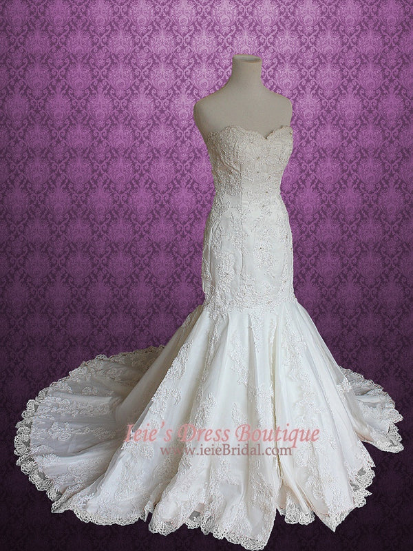 Strapless Sweetheart Mermaid Fit and Flare Lace Wedding Dress
