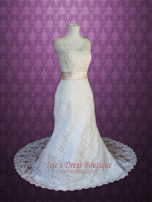 Vintage Lace A-line Wedding Dress with V Neck and Low V Back | Lauren