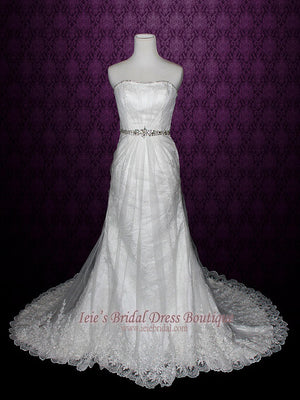 elegant vintage lace wedding dress with bridal illusion overlay