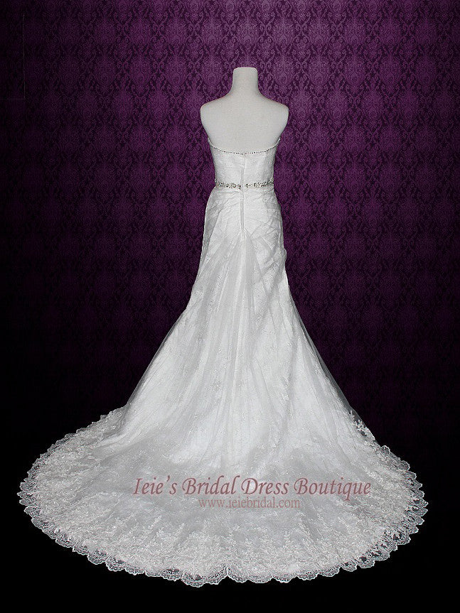 Strapless A-line Bridal Illusion over Lace Wedding Dress | Venice
