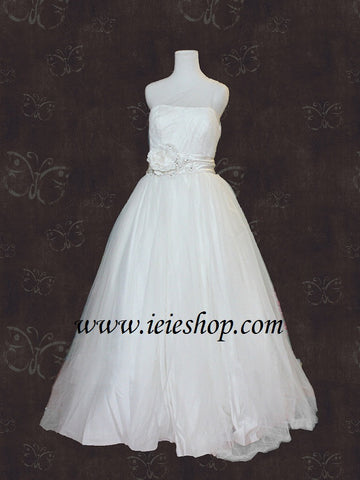 Asymetrical One Shoulder Princess Tulle Ball Gown with Flower Sash