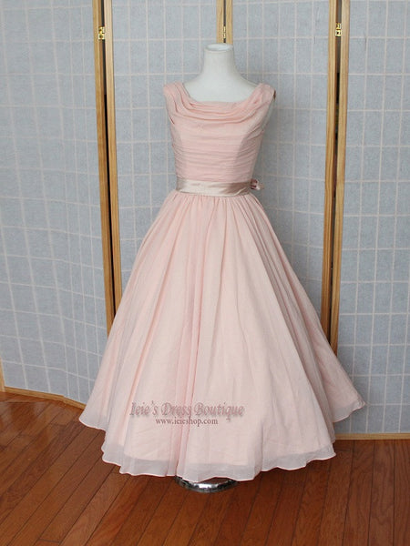 Retro Vintage Inspired Peach Blush Tea Length Chiffon Formal Prom Dress